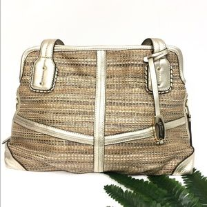 B. Makowsky Gold Leather Trim & Tan Woven Bag